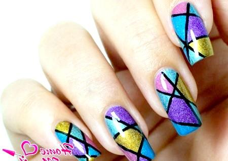 Фото - велика мозаїка на нігтях