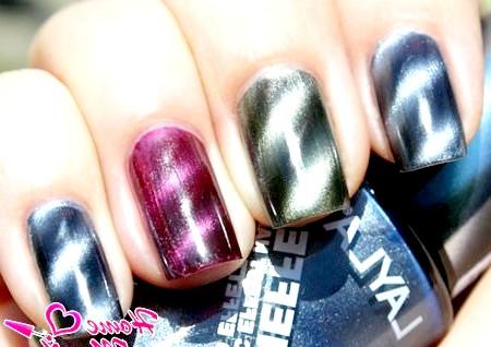 Фото - магнітний лак на нігтях різного кольору