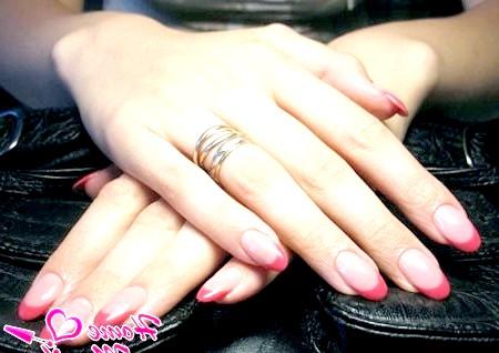 Фото - нарощені овальні нігті френч