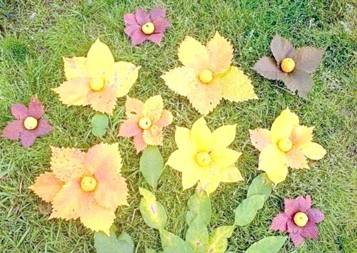 Фото - квіти з осіннього листя
