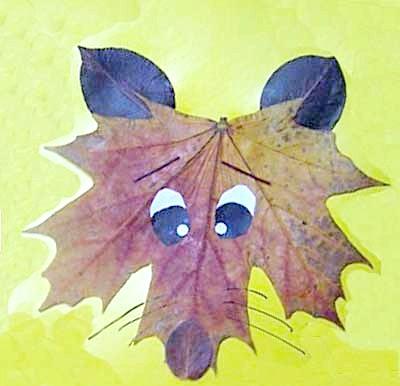Фото - аплікація лисиця з осіннього листя