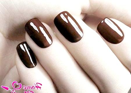 Фото - темно-коричневий манікюр з глянцевим відблиском